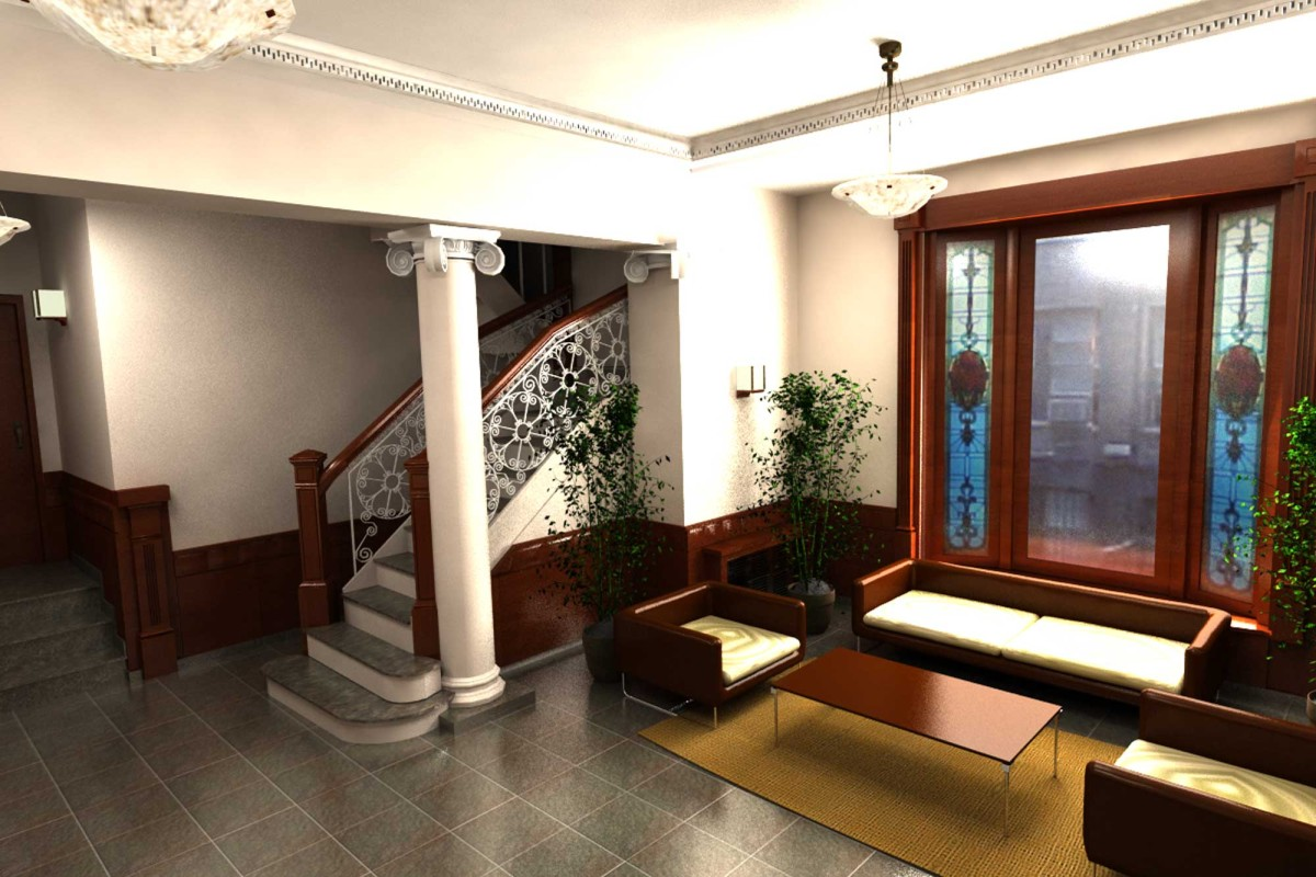 Architectural Rendering Interior Lobby River Hall Dormitory