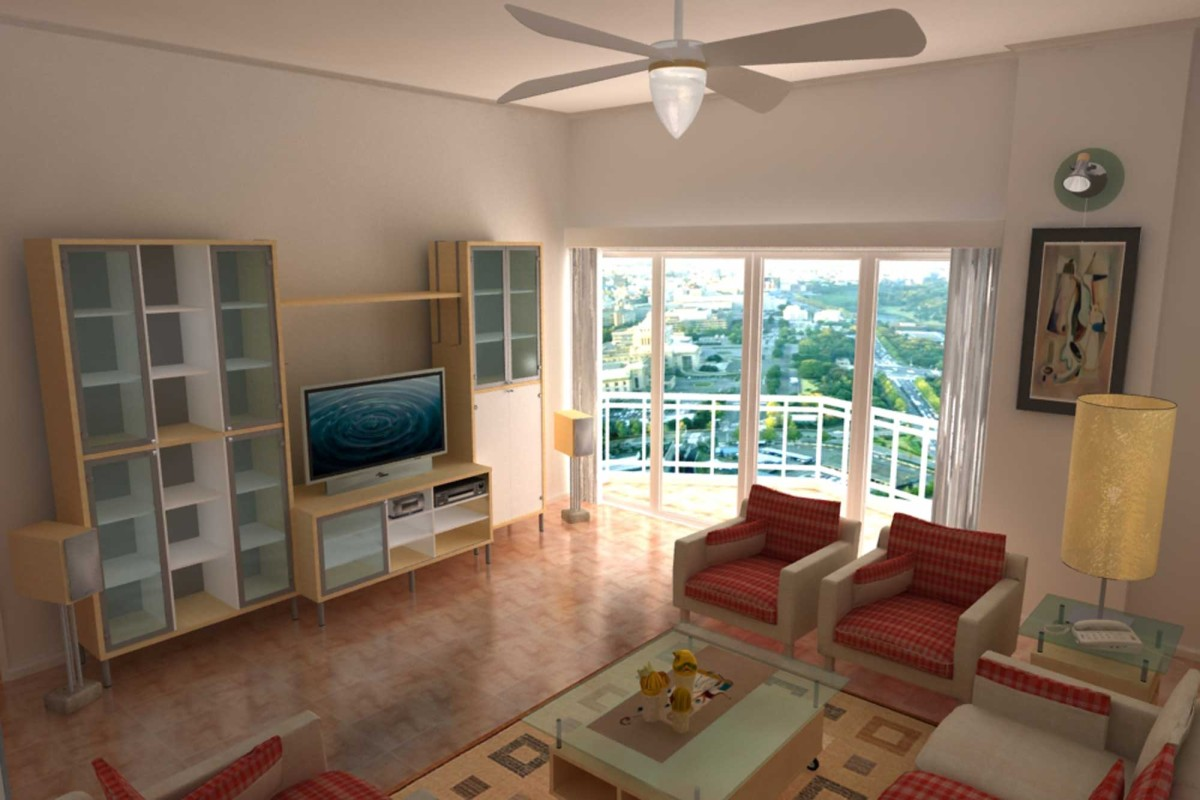 Architectural Rendering Interior Living Room TE2