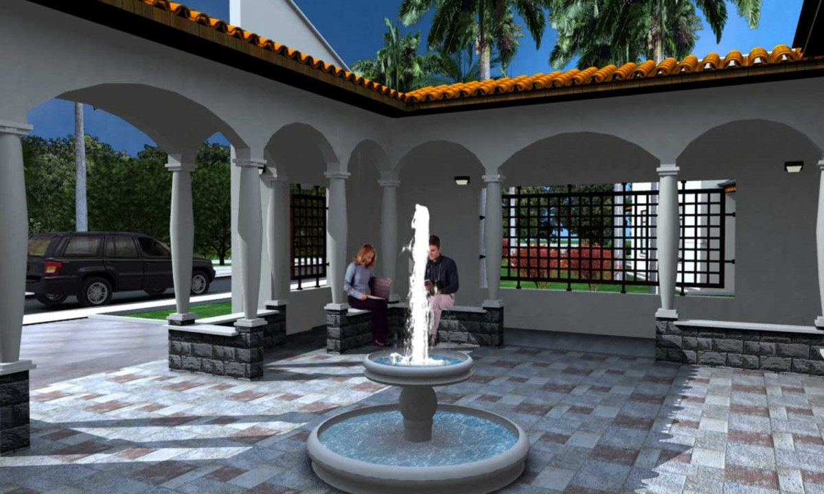 Architectural Rendering Exterior Courtyard Arecibo Job Corps