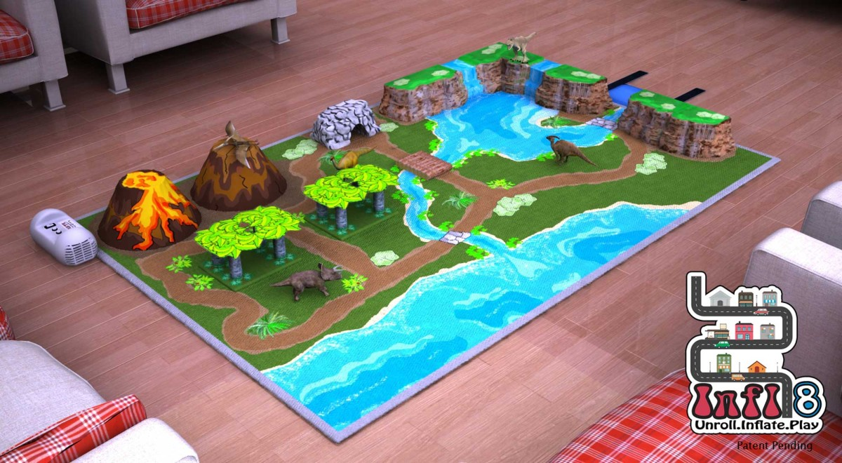 Digital Prototype Rendering Infl-8 Dinosaur Play Mat