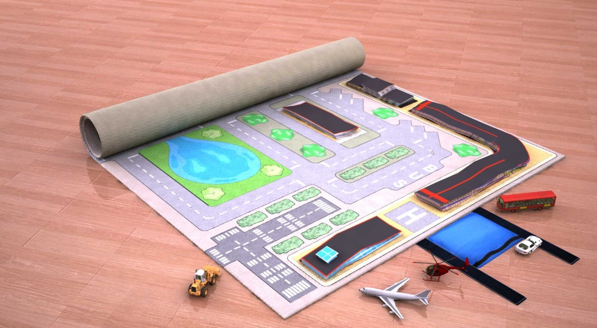 Digital Prototype Rendering Infl-8 City Play Mat Unrolling