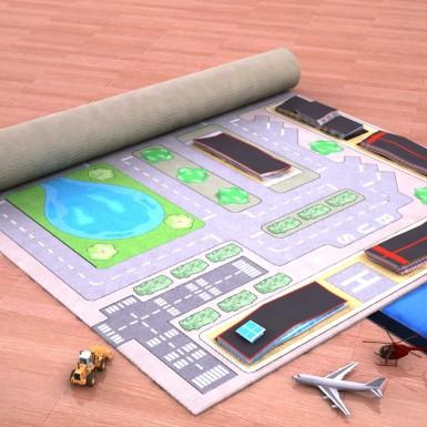 Digital Prototype Rendering Infl-8 City Play Mat Unrolling